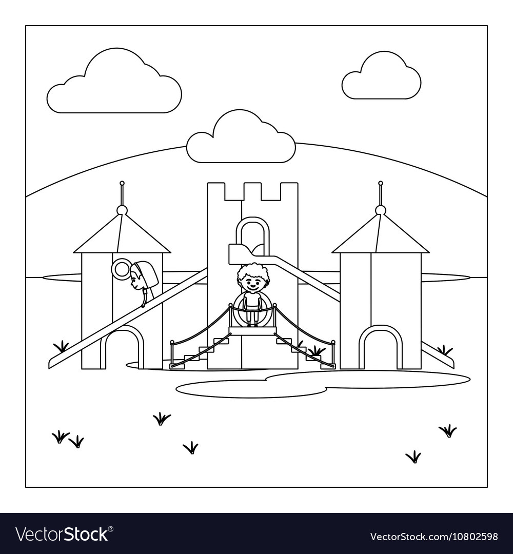 Coloring book page of a playground - Kids On Playground Coloring Book Page Vector Image