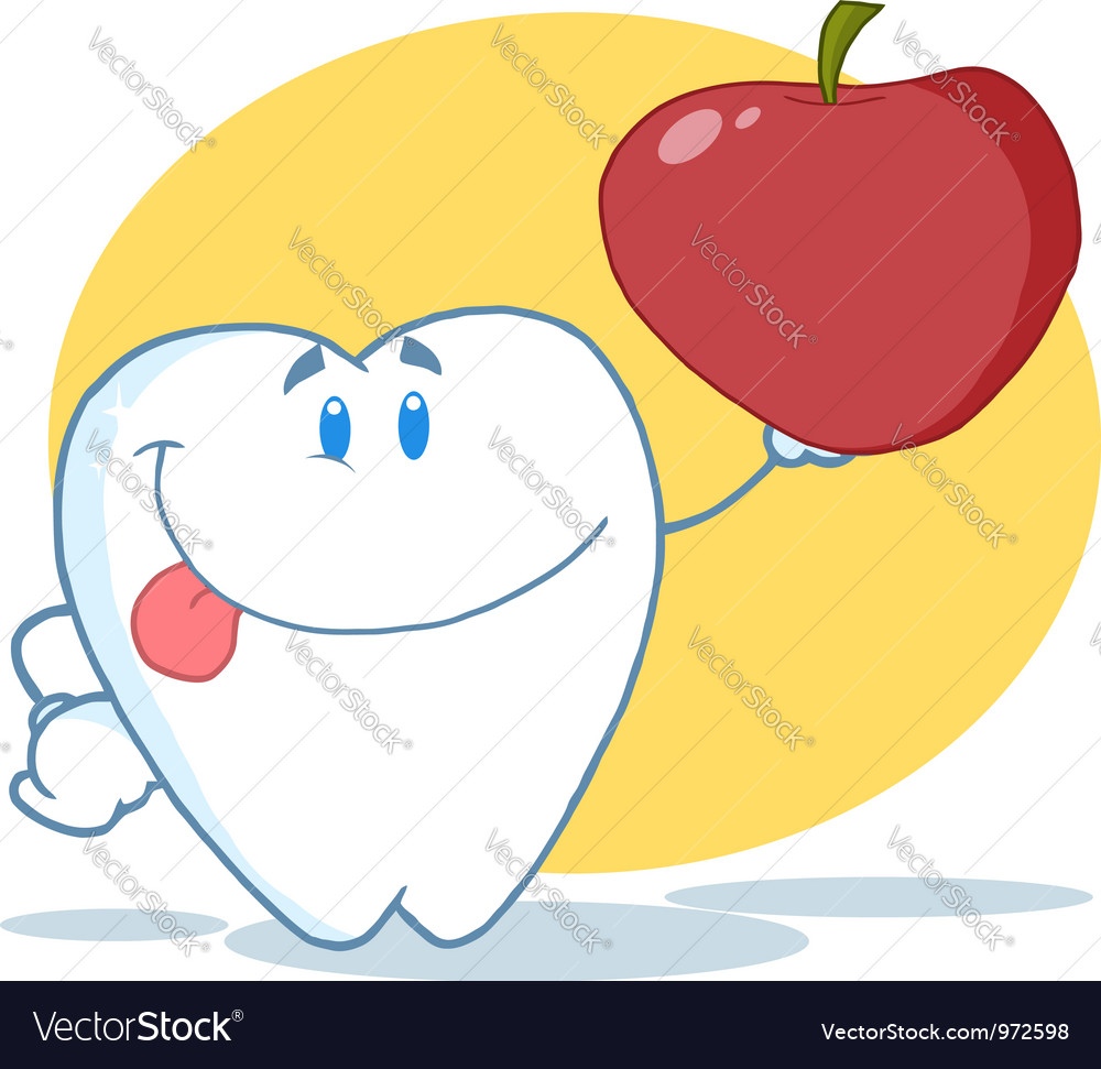 Tooth Character Holding A Red Apple vector image