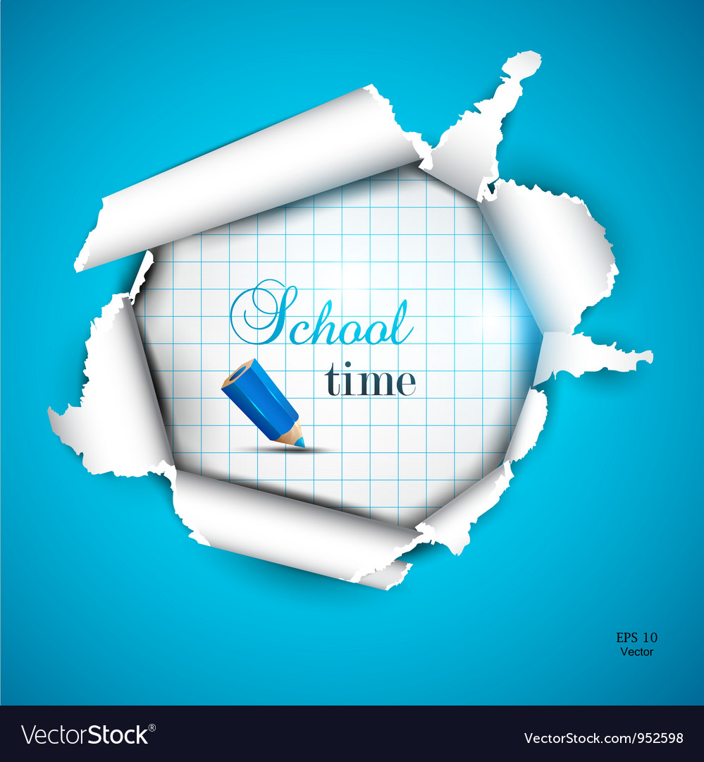 Torn school paper vector image