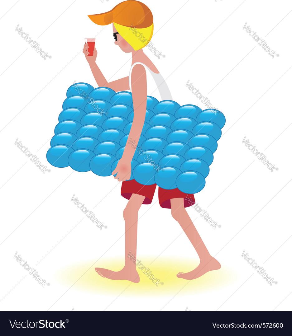 Air mattress boy vector image