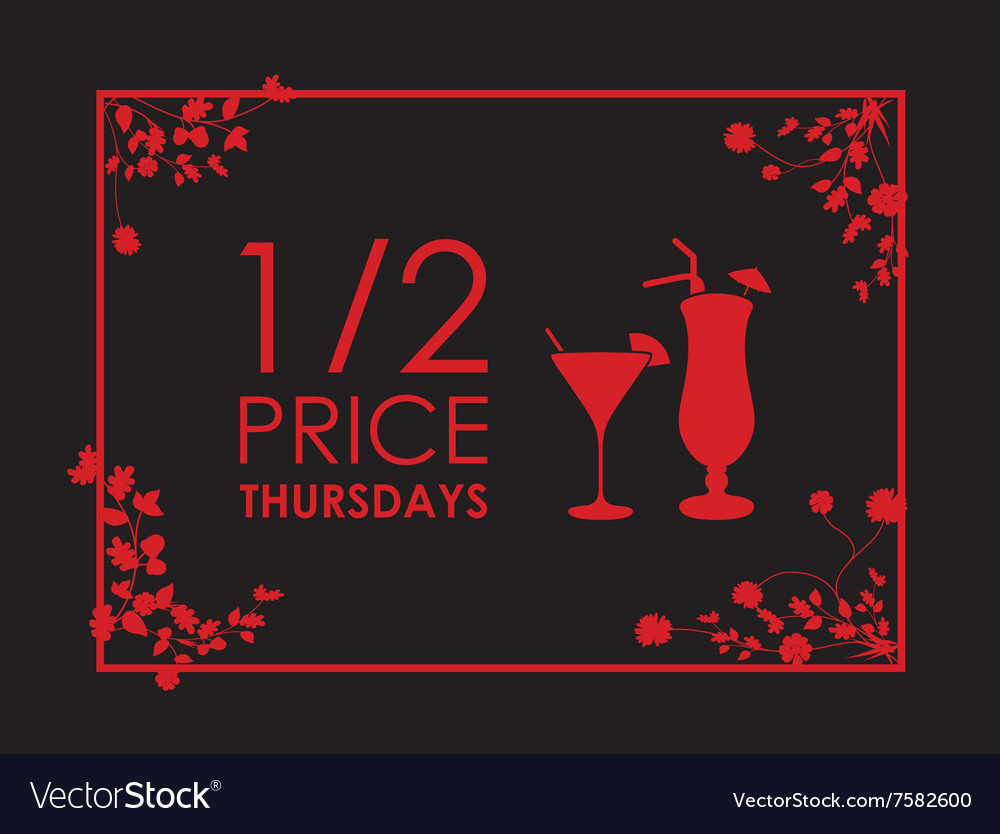 Drinks floral black and red background vector image