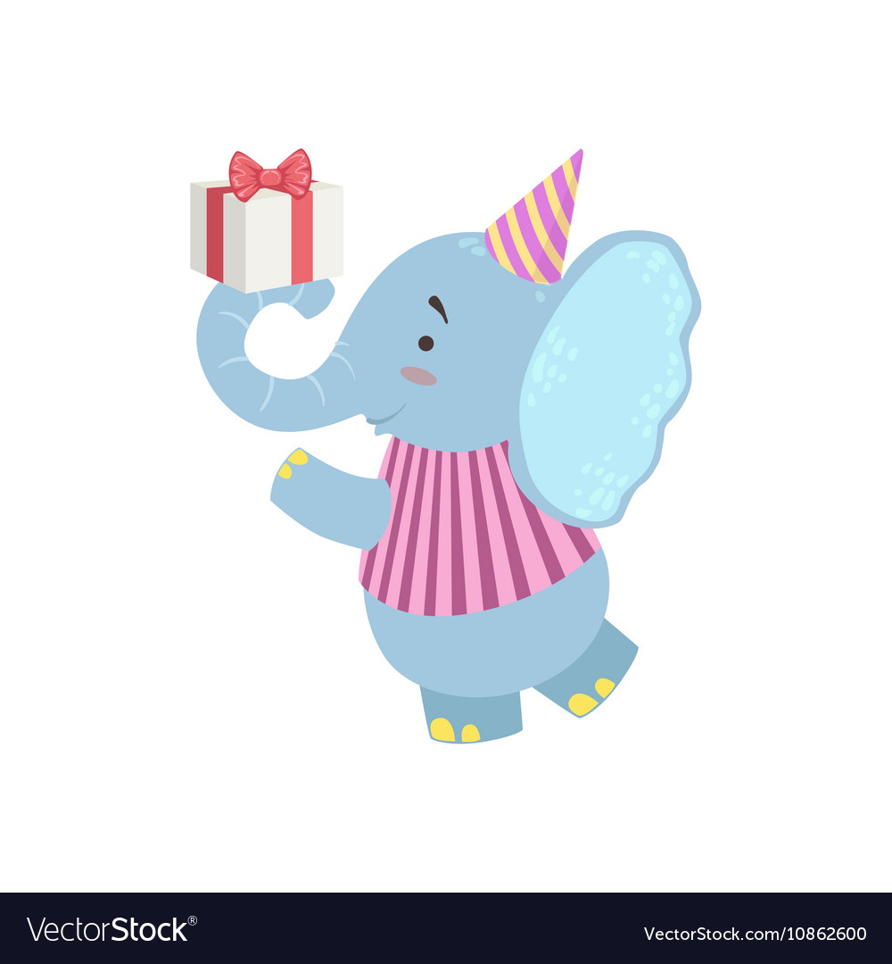 Elephant Cute Animal Character Attending Birthday vector image
