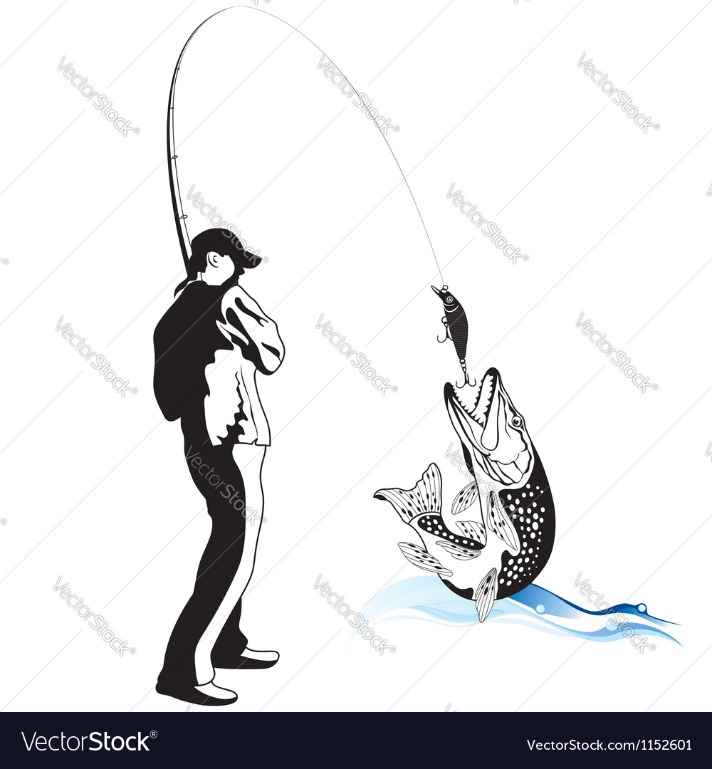 Fisherman caught a pike vector image
