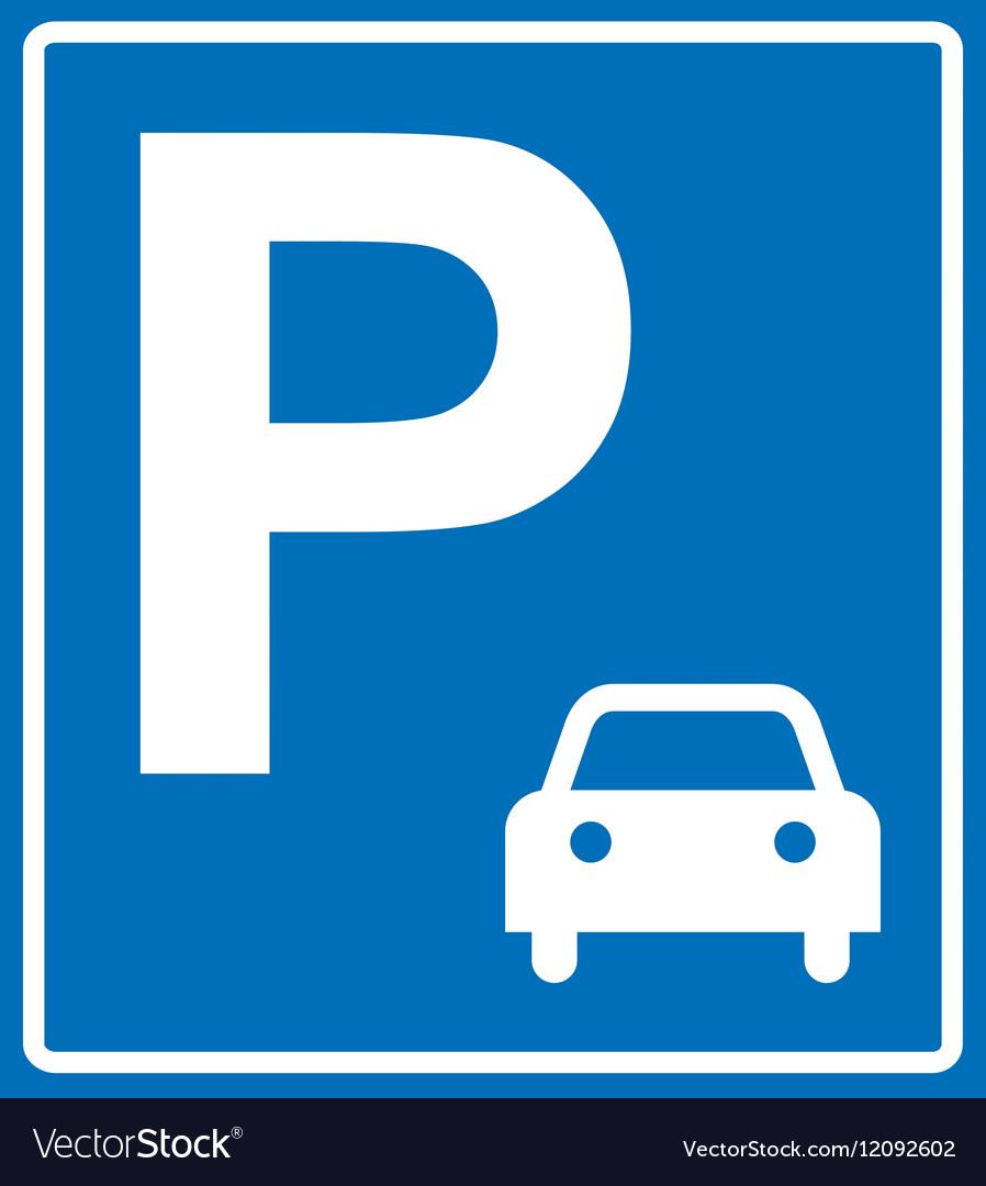 Blue parking sign on blue vector image