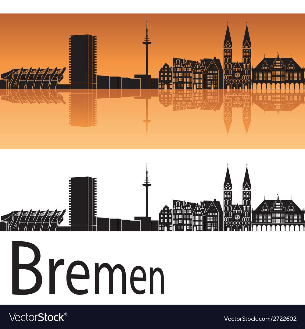 Bremen skyline in orange background vector image