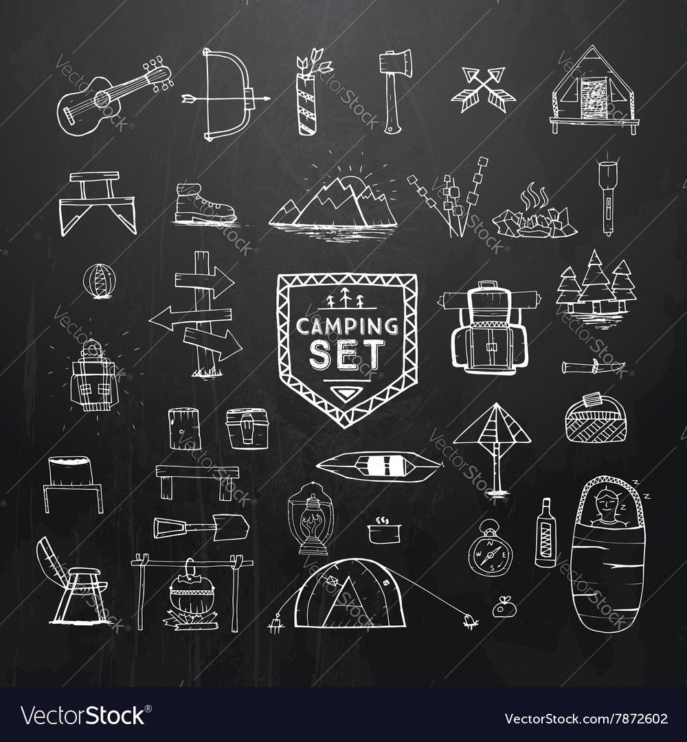 Hand drawn camping set on black vector image