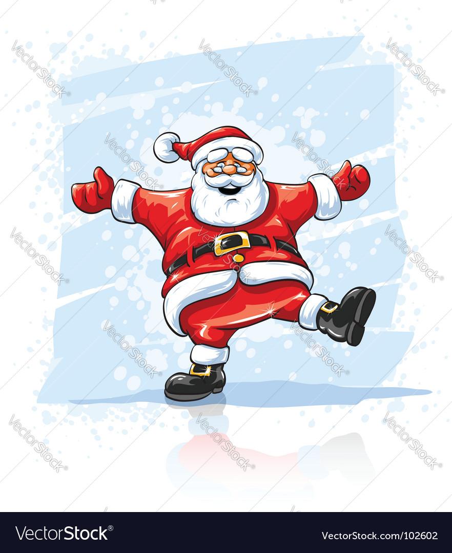 Merry christmas santa claus dancing vector image