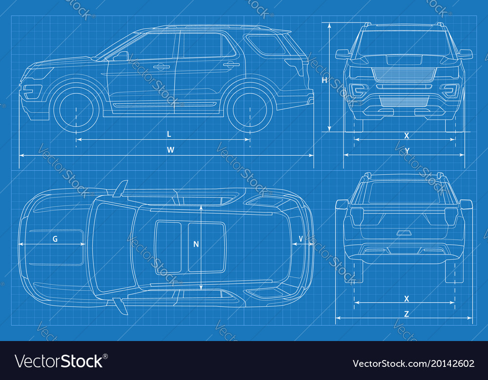 Off-road car schematic or suv car blueprint Vector Image