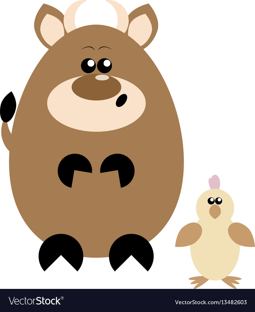 Cow and chick surprised vector image