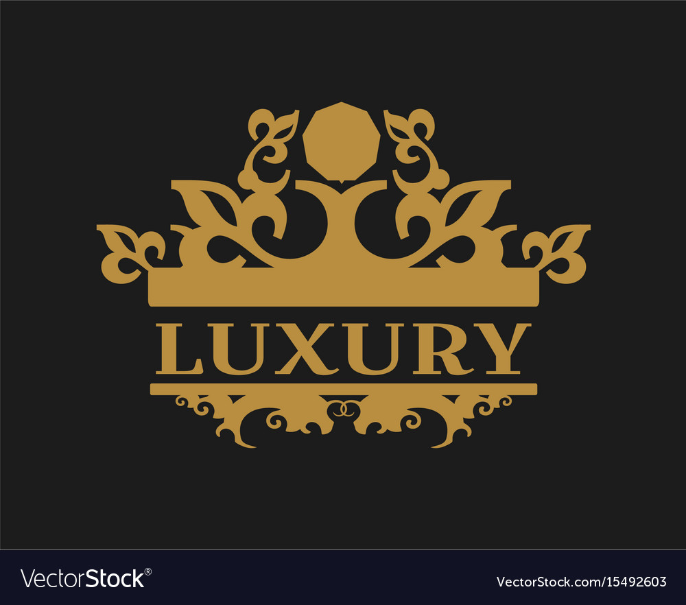 Emblem template with crown vector image