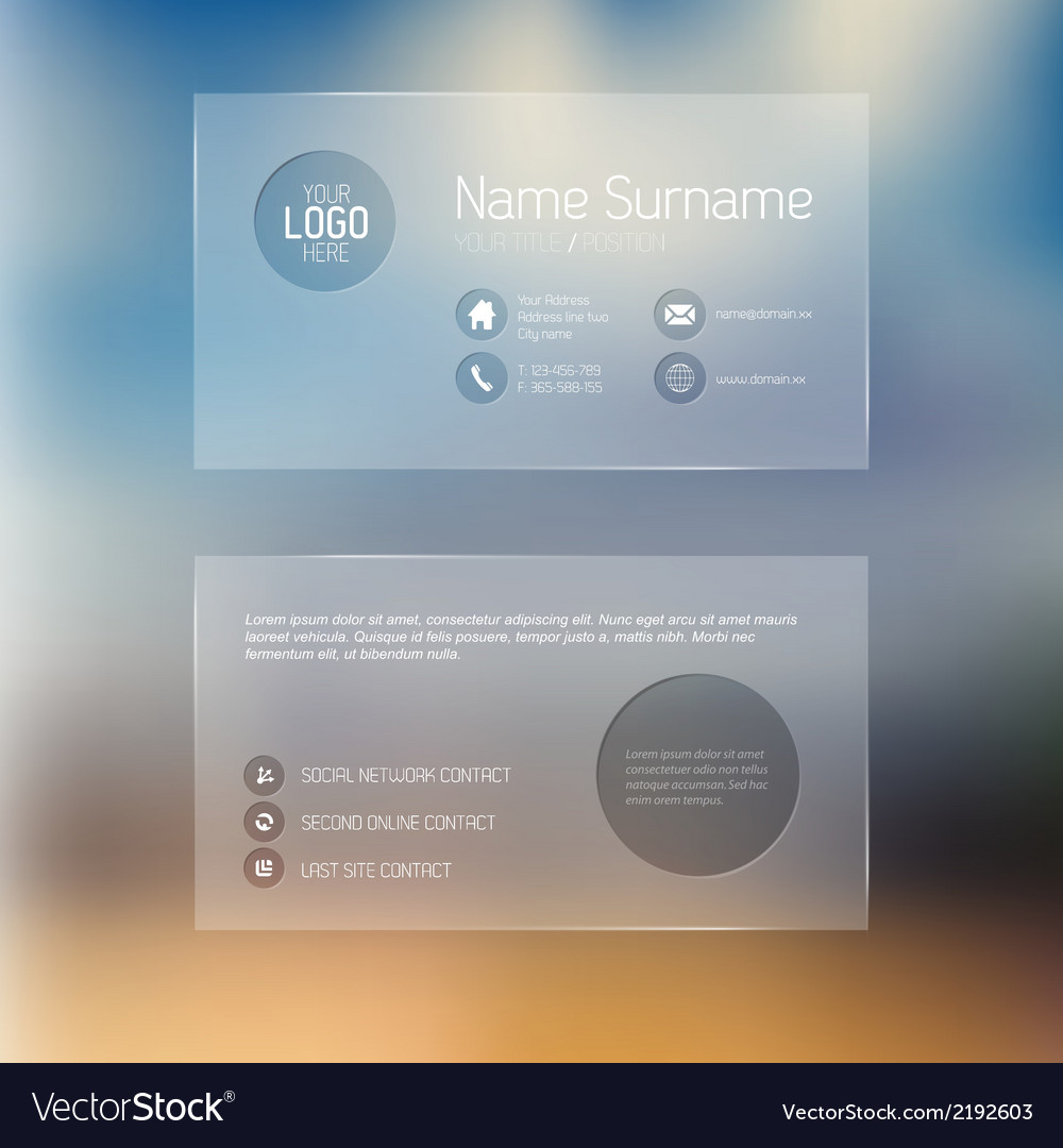Modern transparent business card template vector image accmission Images