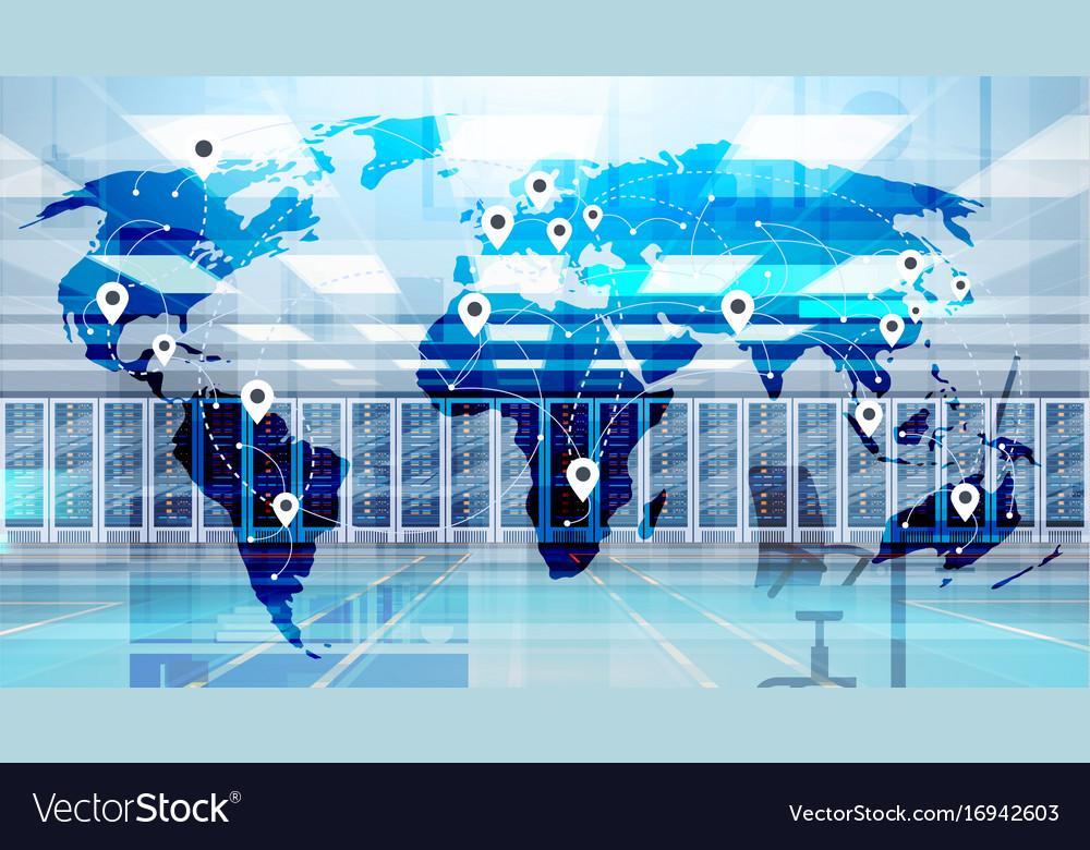 World map over data center room hosting server vector image gumiabroncs Gallery