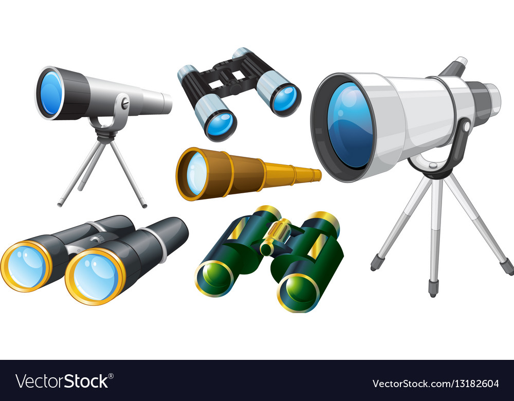 Different designs of telescopes vector image