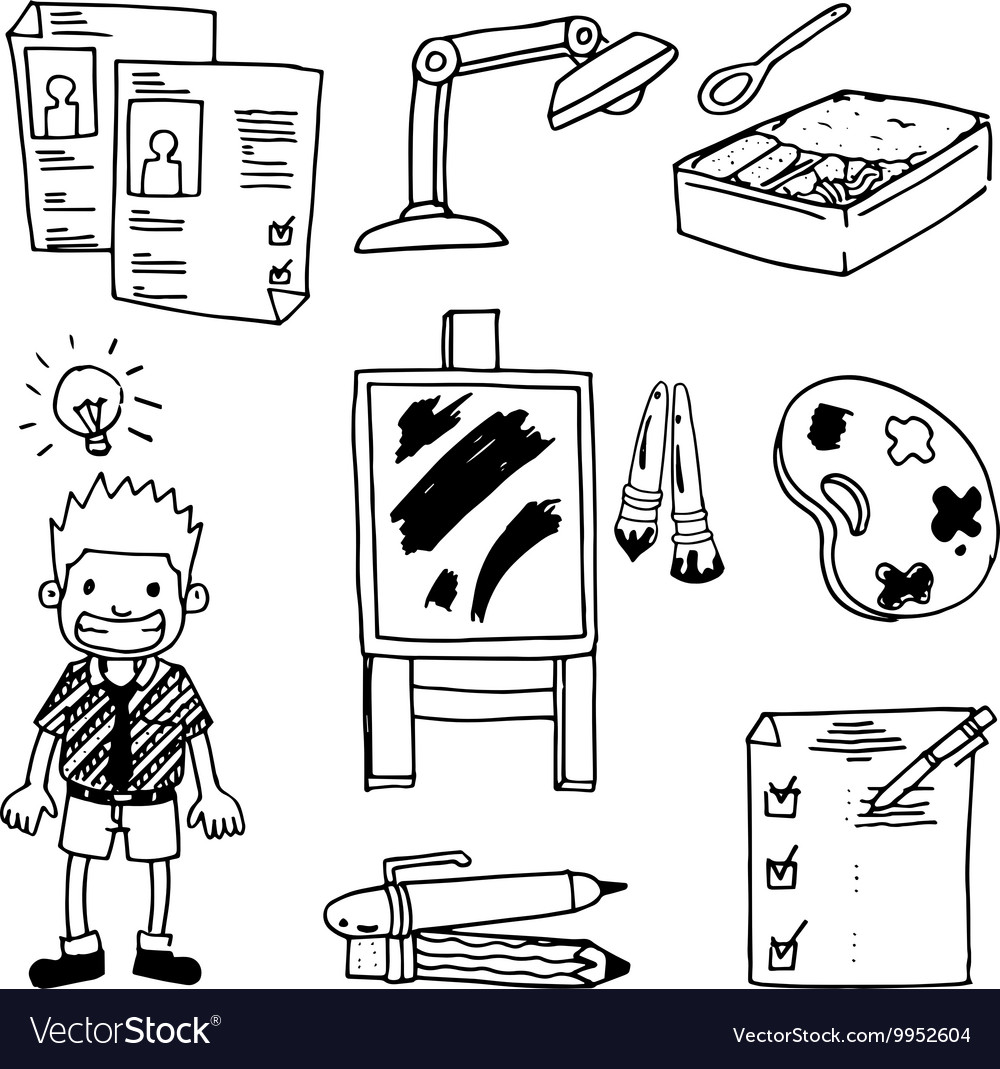 Doodle school education children pen pencil vector image