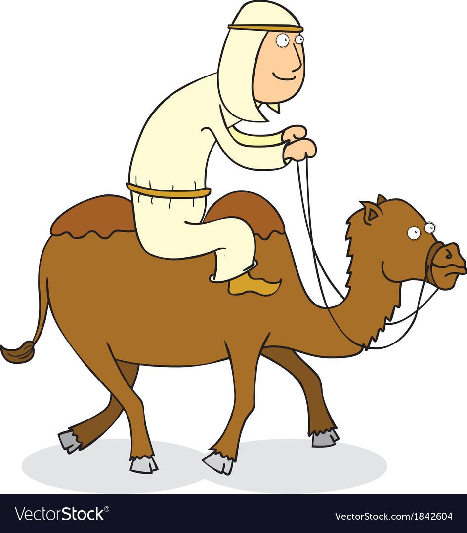 man riding camel royalty free vector image vectorstock