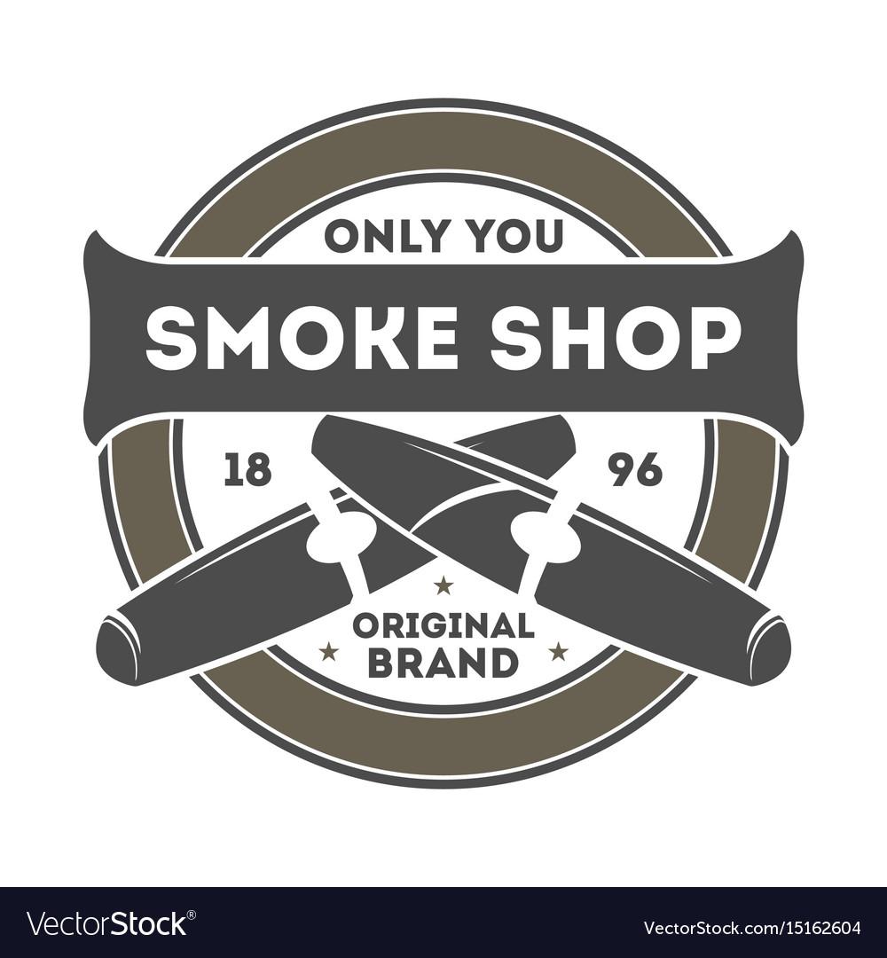 Smoke shop vintage label with cigar vector image