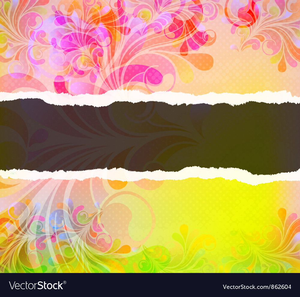 Torn cardboard with colorful swirls vector image