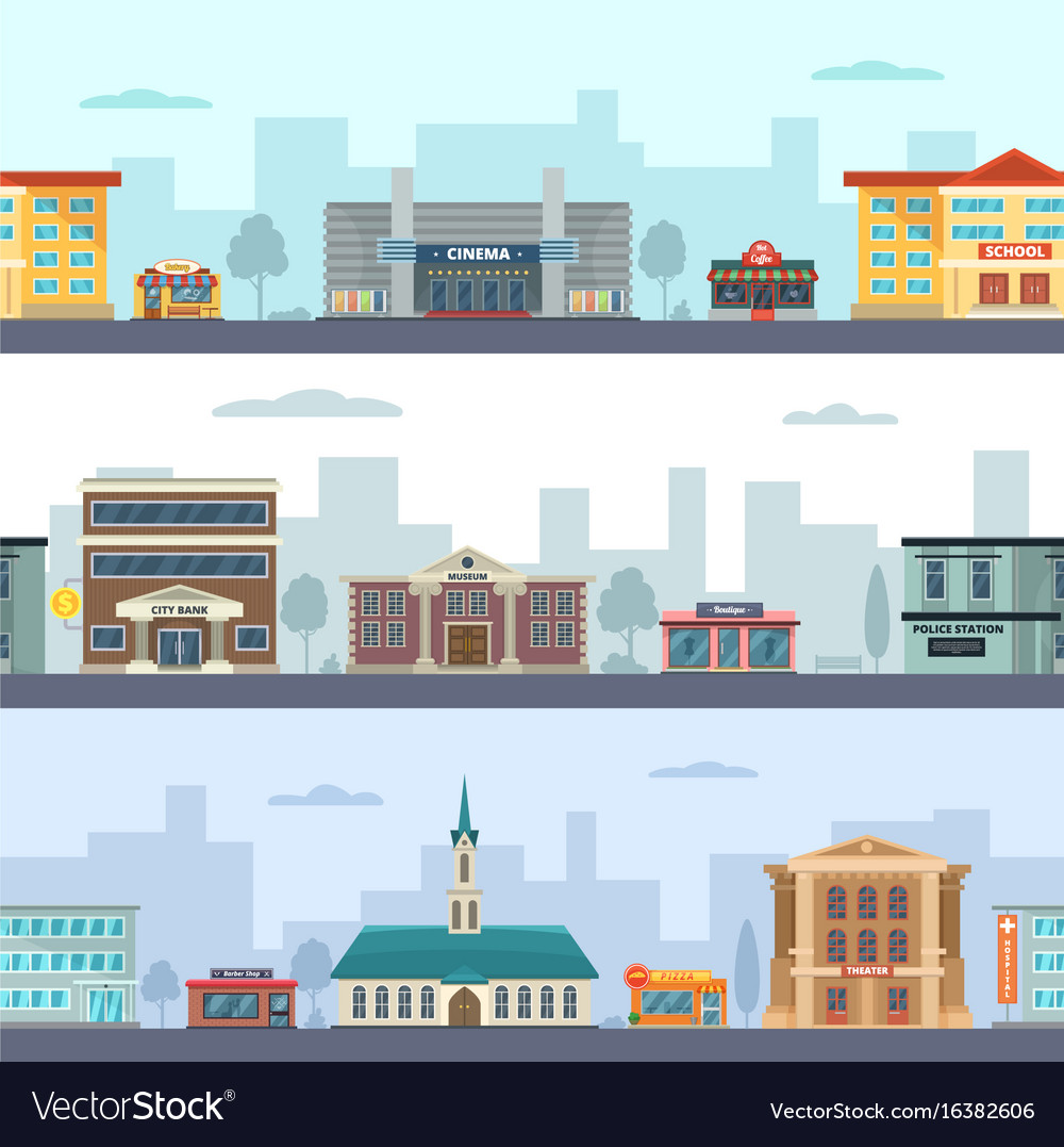 Horizontal seamless pattern of urban landscapes vector image