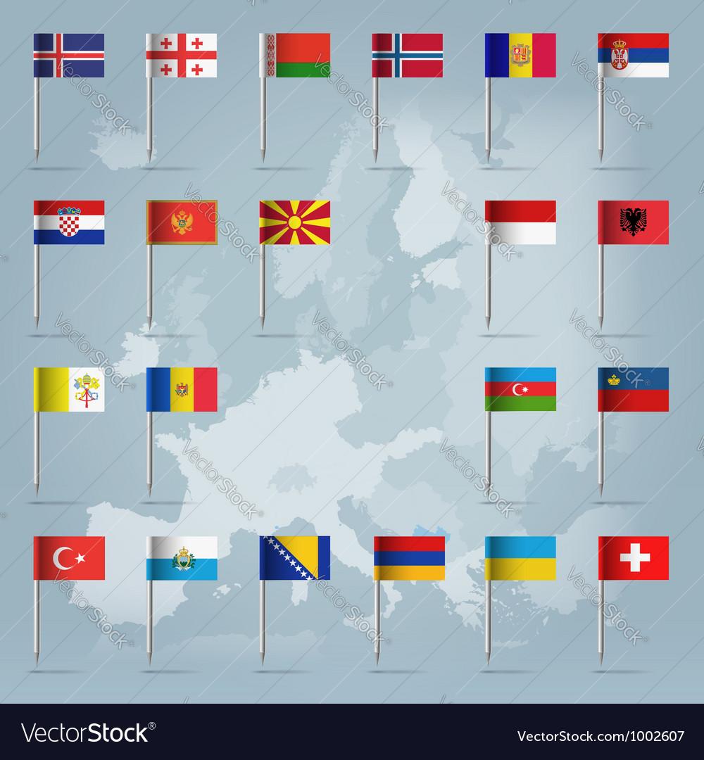European countries flag pins vector image