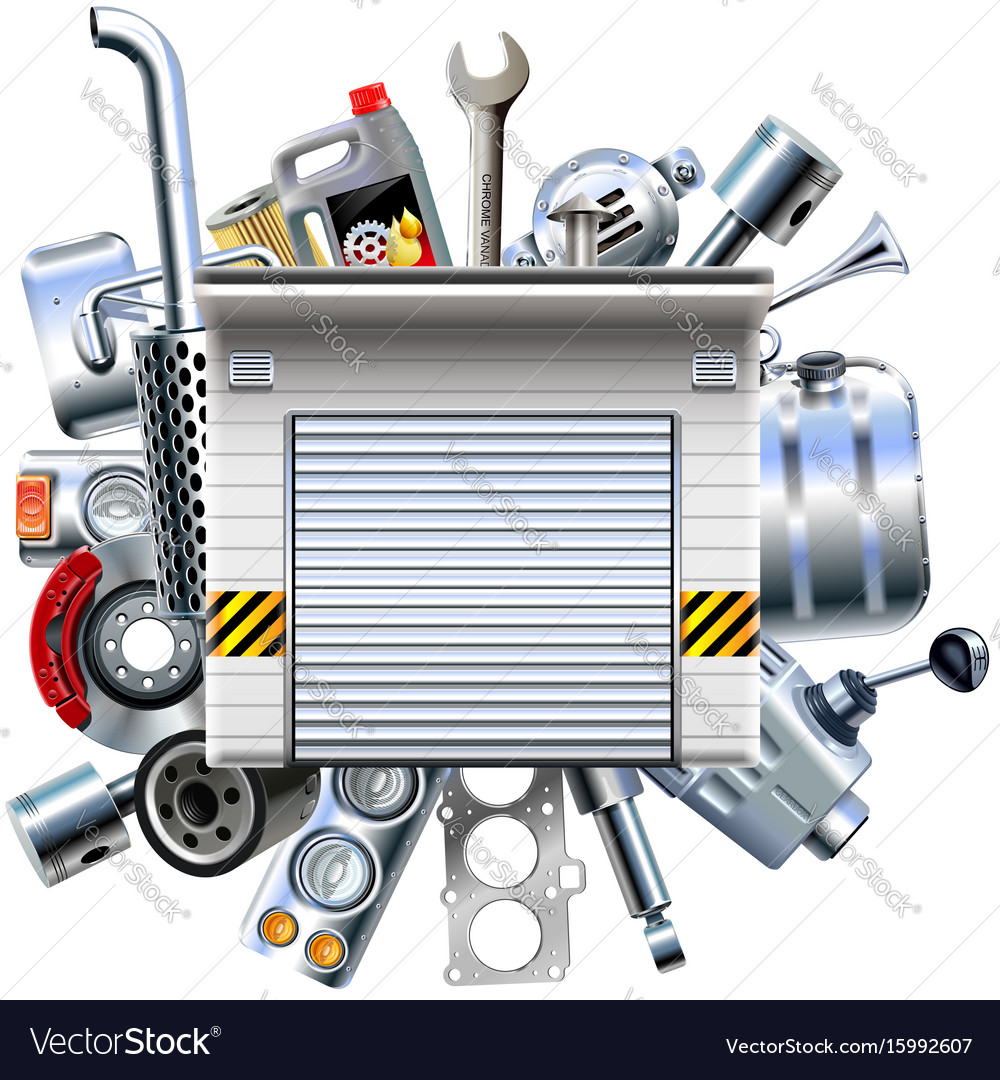 Car parts with garage vector image