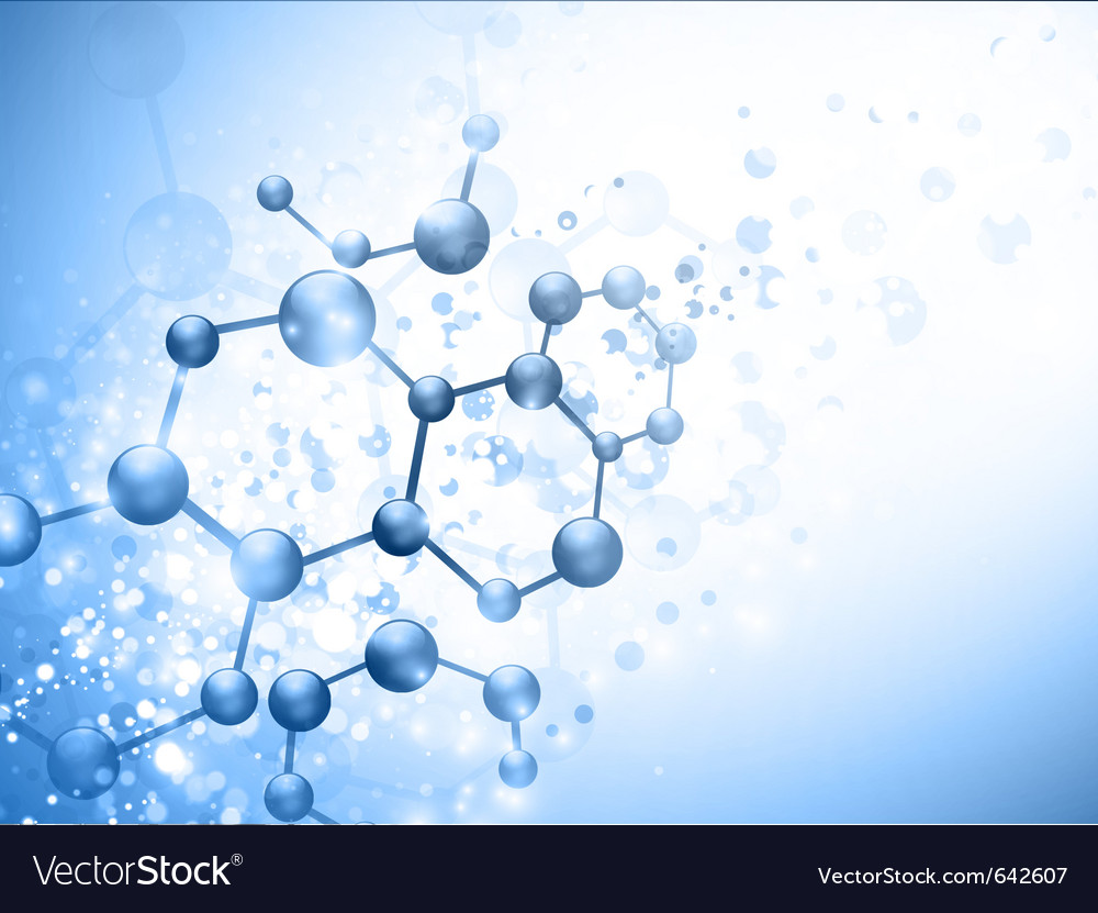 Molecule over blue vector image