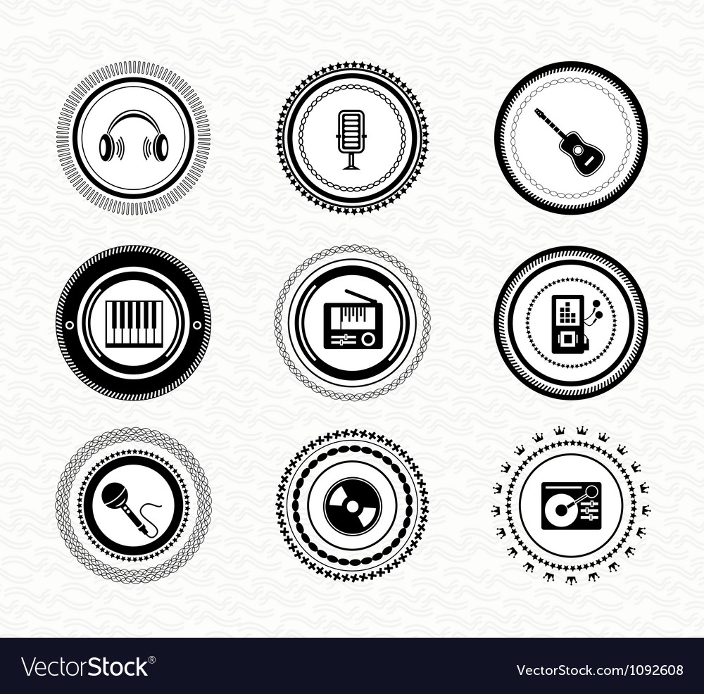 Set of vintage retro black labels music Vector Image