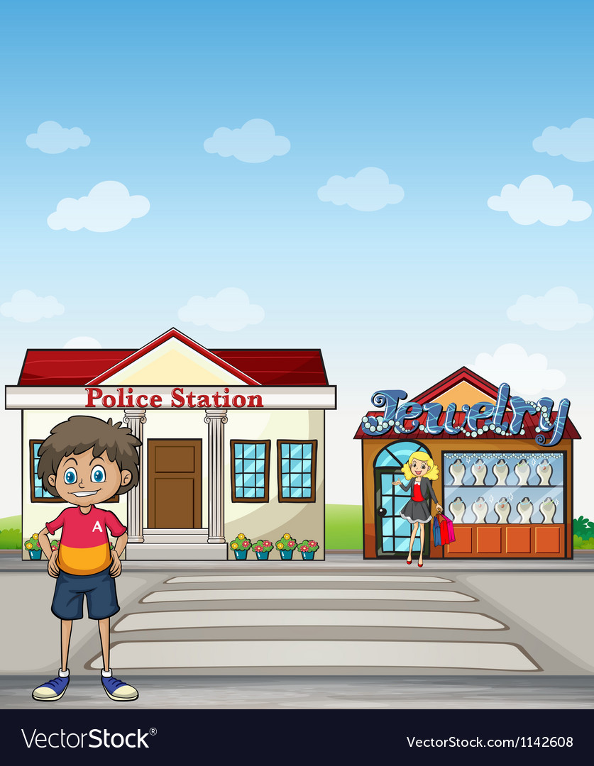 kid police station and jewelry store royalty free vector