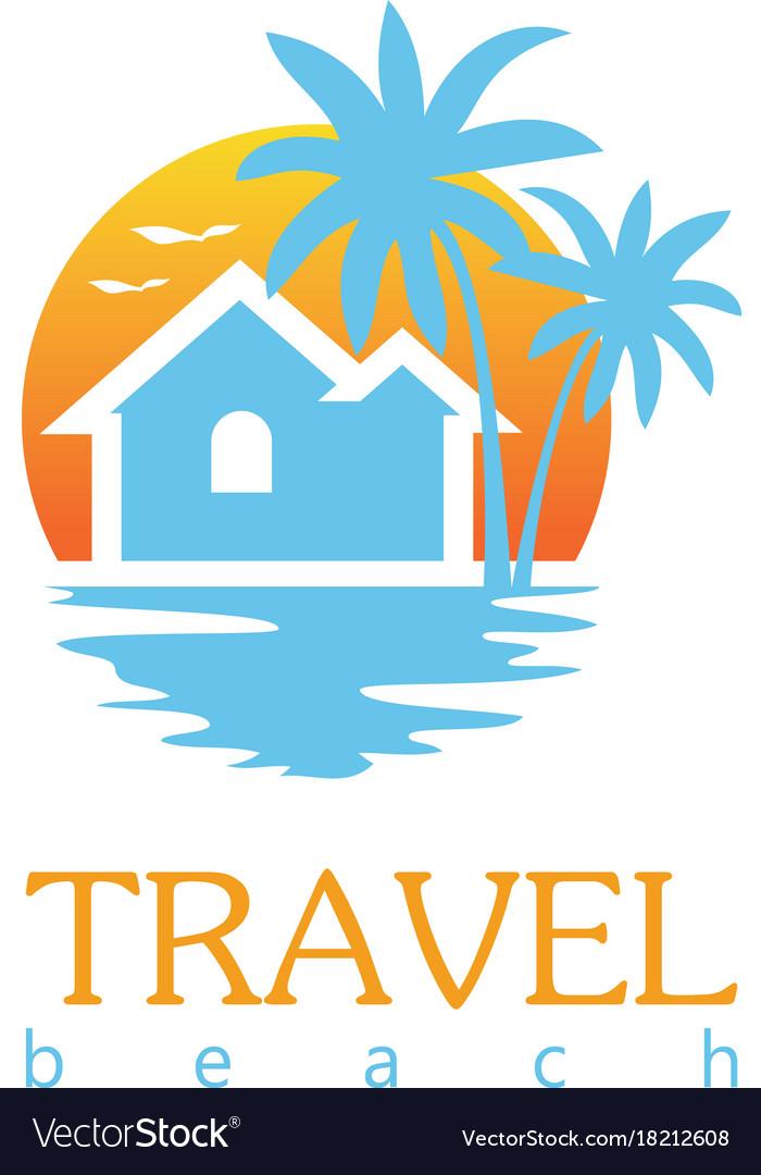 Travel beach logo vector image