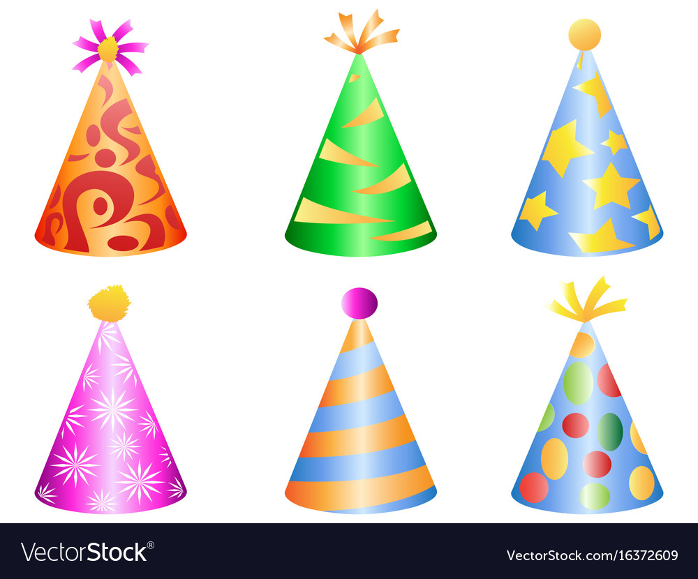 Colorful party hat icons vector image