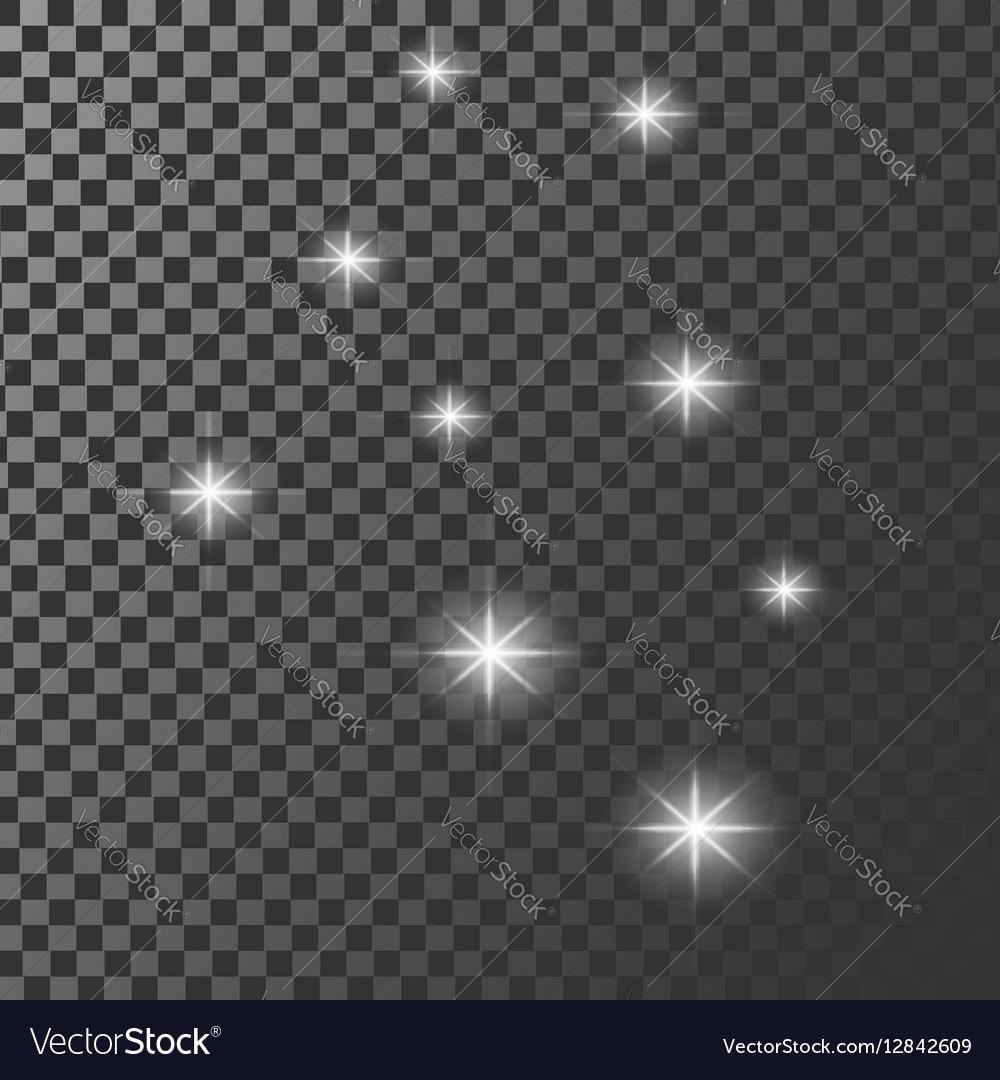 Set of glowing light effect stars bursts vector image
