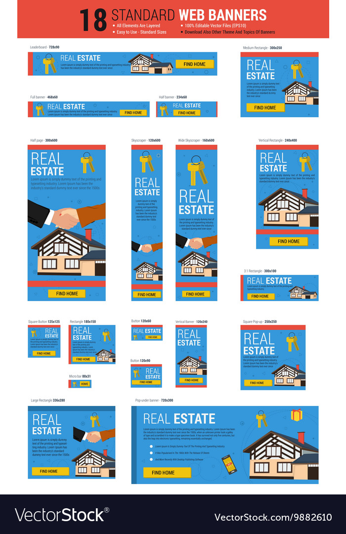 Standard size web banners - Real Estate Royalty Free Vector
