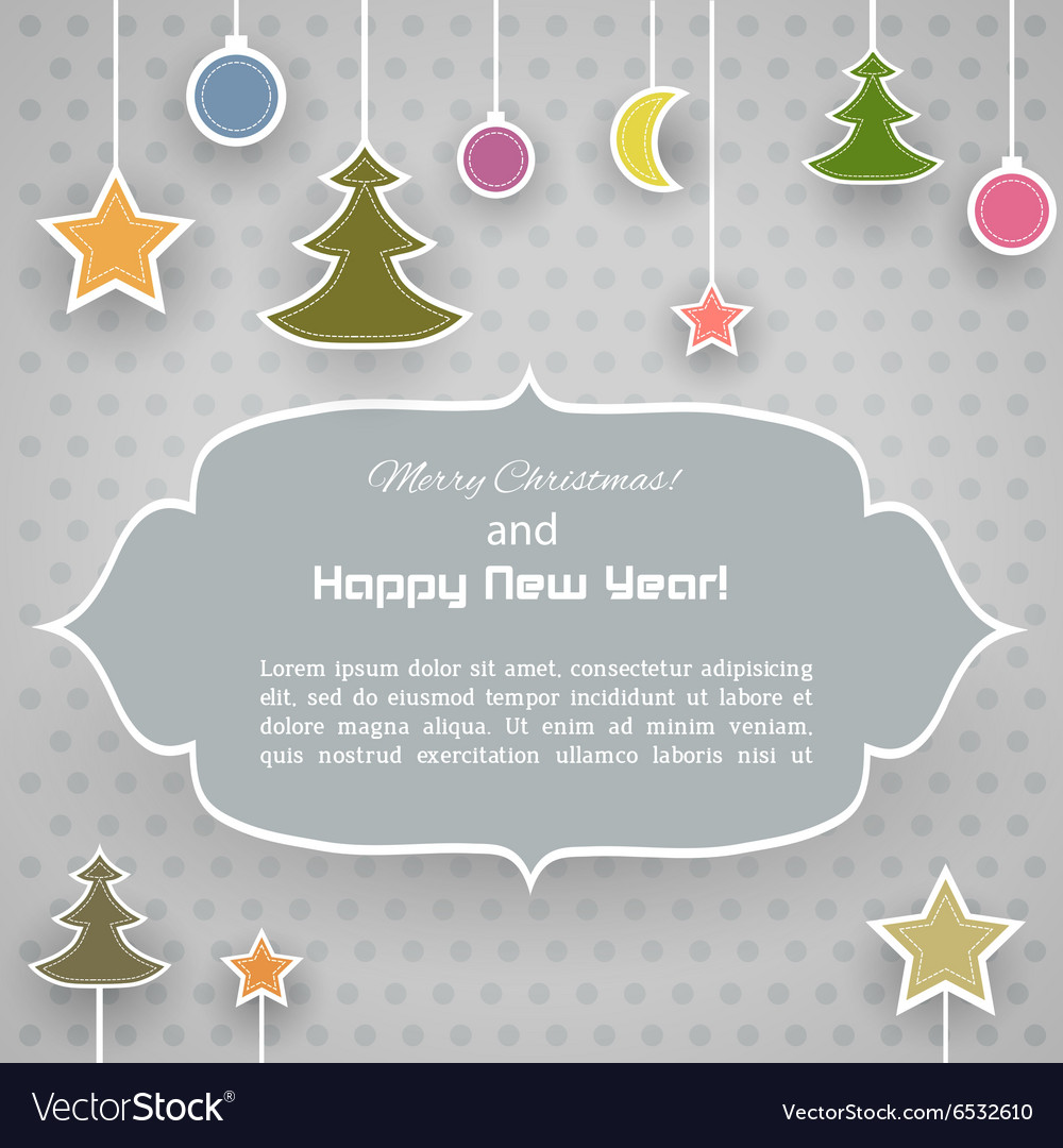 Vintage Christmas card with ornaments vector image