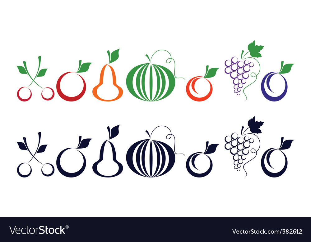 Berries and fruits vector image