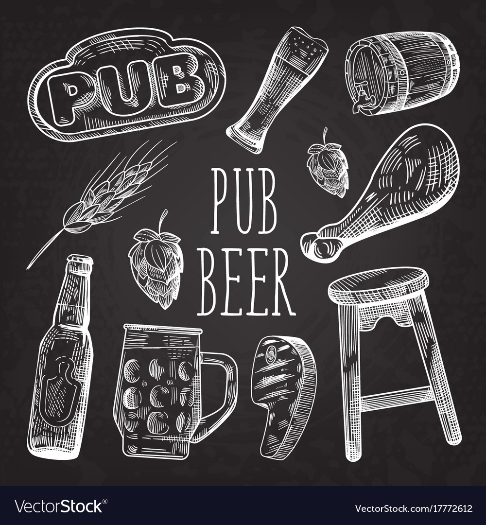 Beer hand drawn menu poster banner on chalkboard vector image