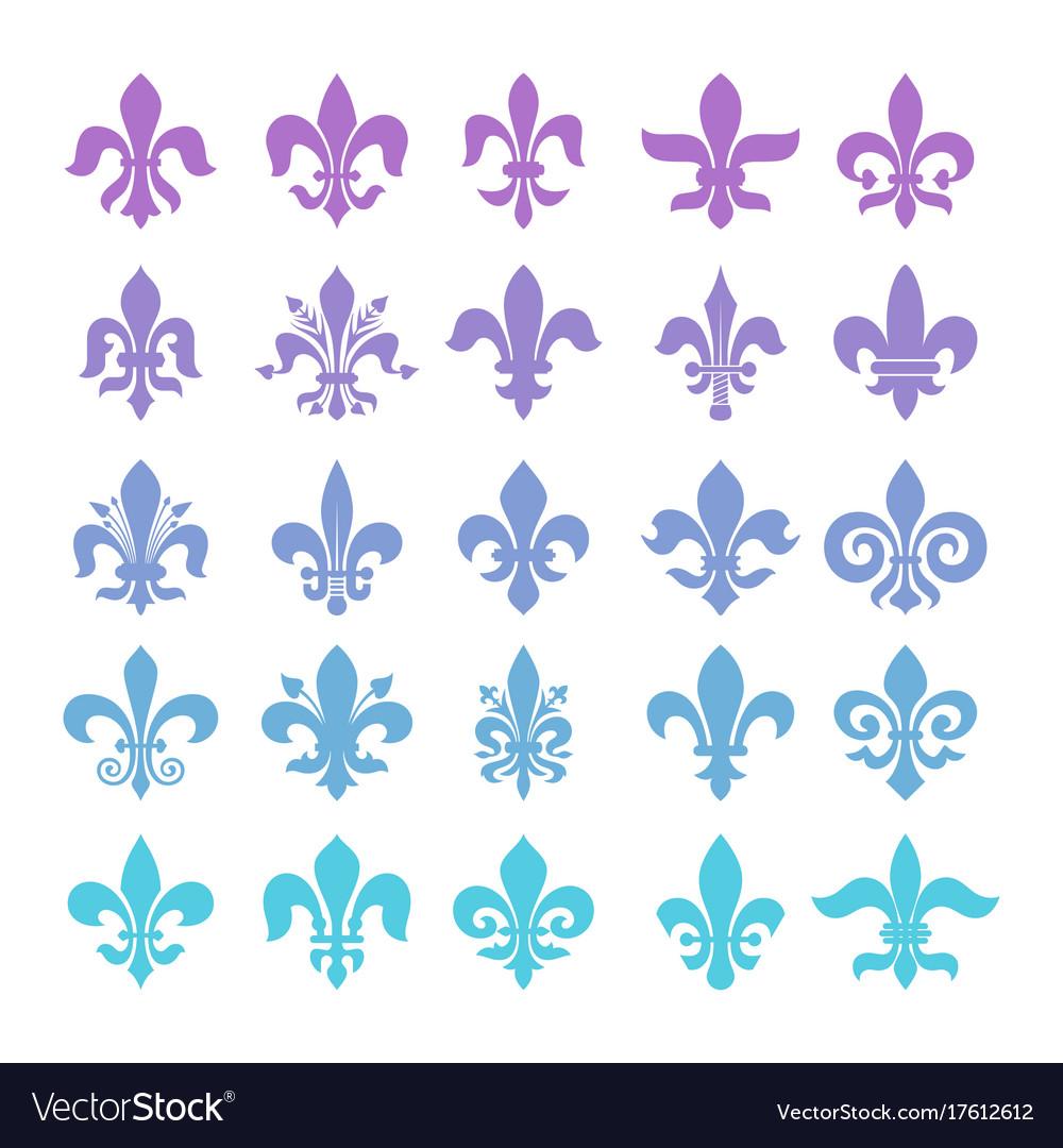 Fleur de lis symbols set vector image
