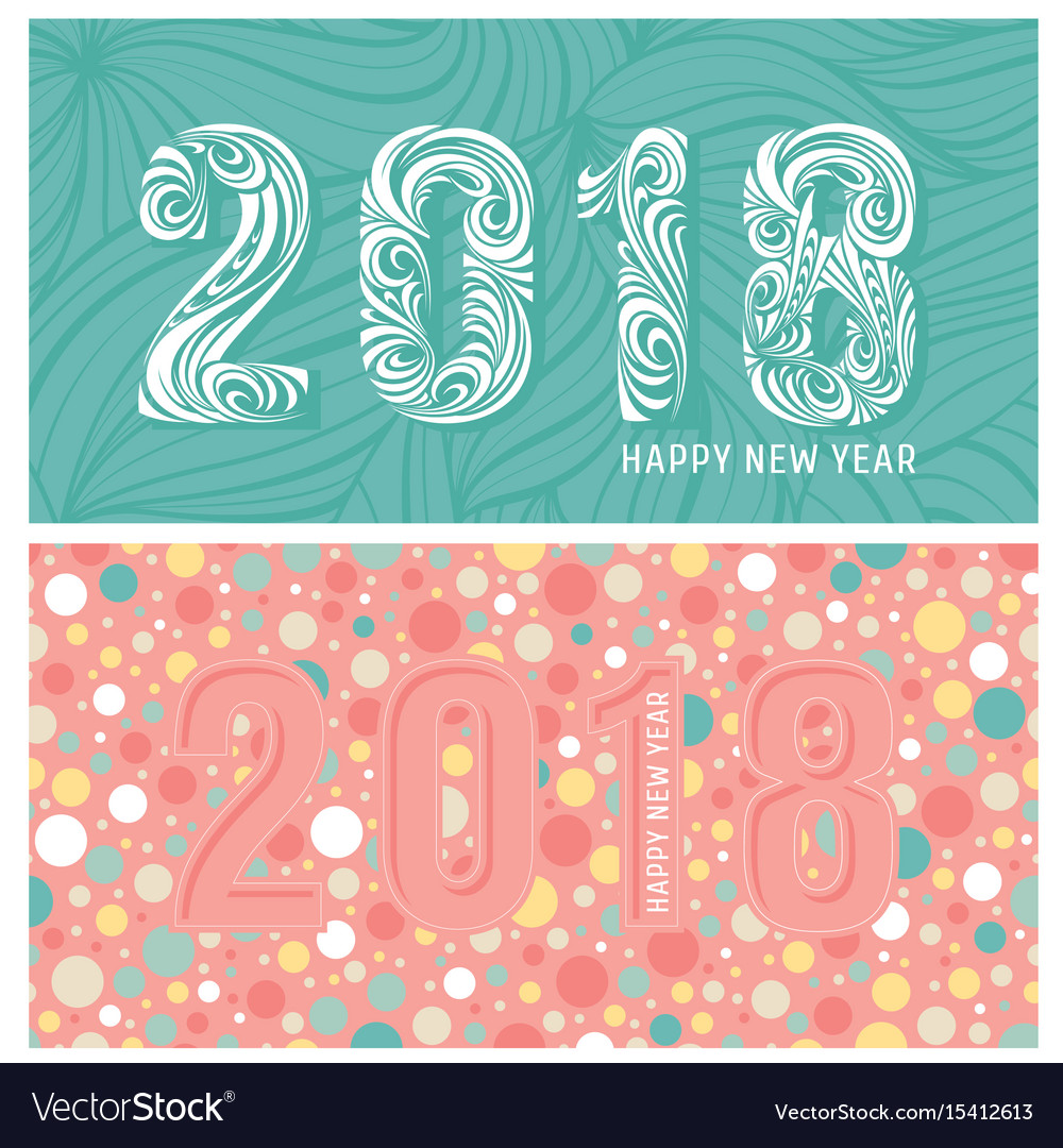 2018 new year banners with stylized numbers vector image
