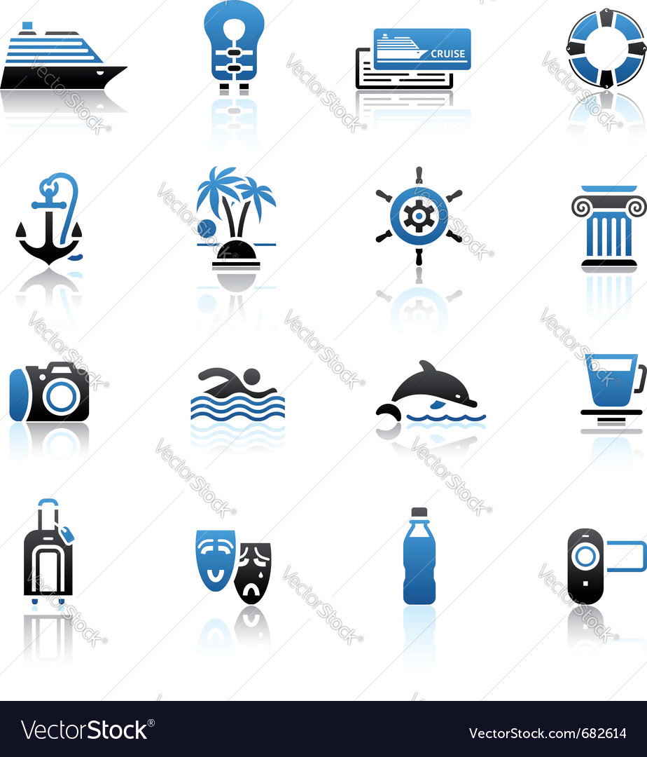 Travel vacation  recreation icons set Vector Image