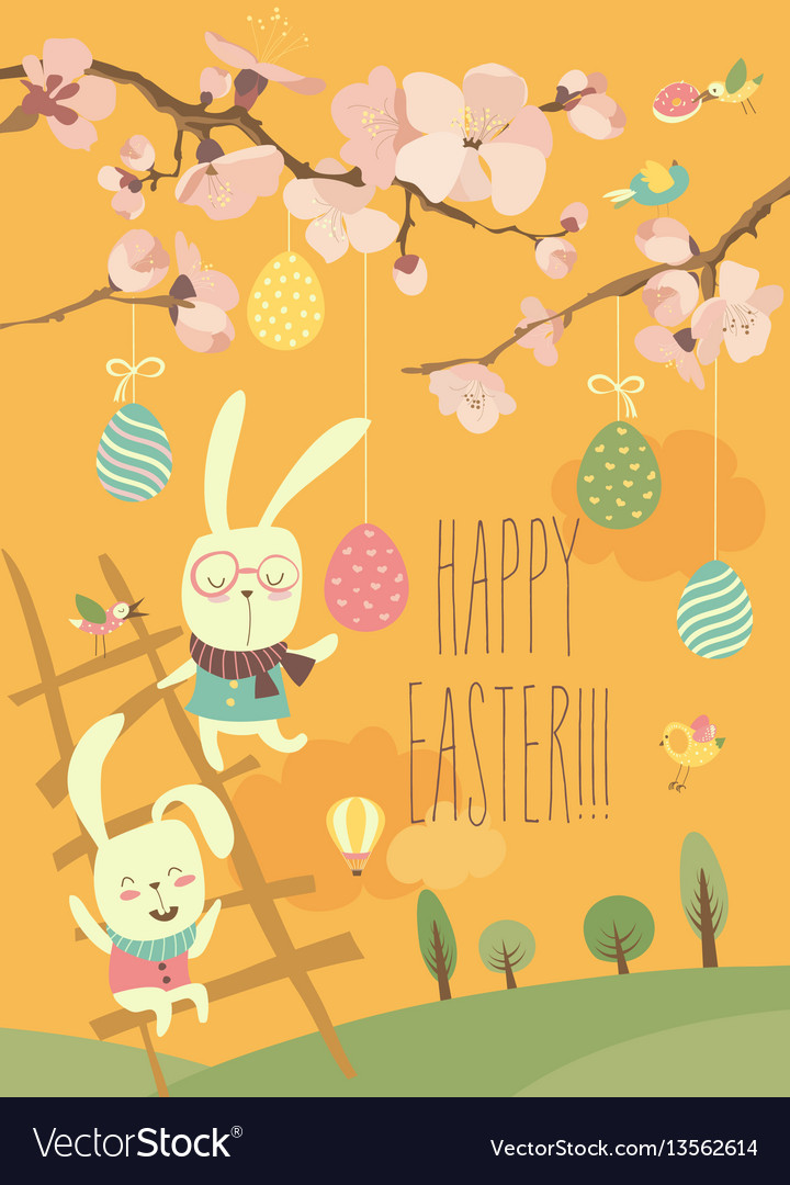 Funny easter bunnies with flowering branches vector image