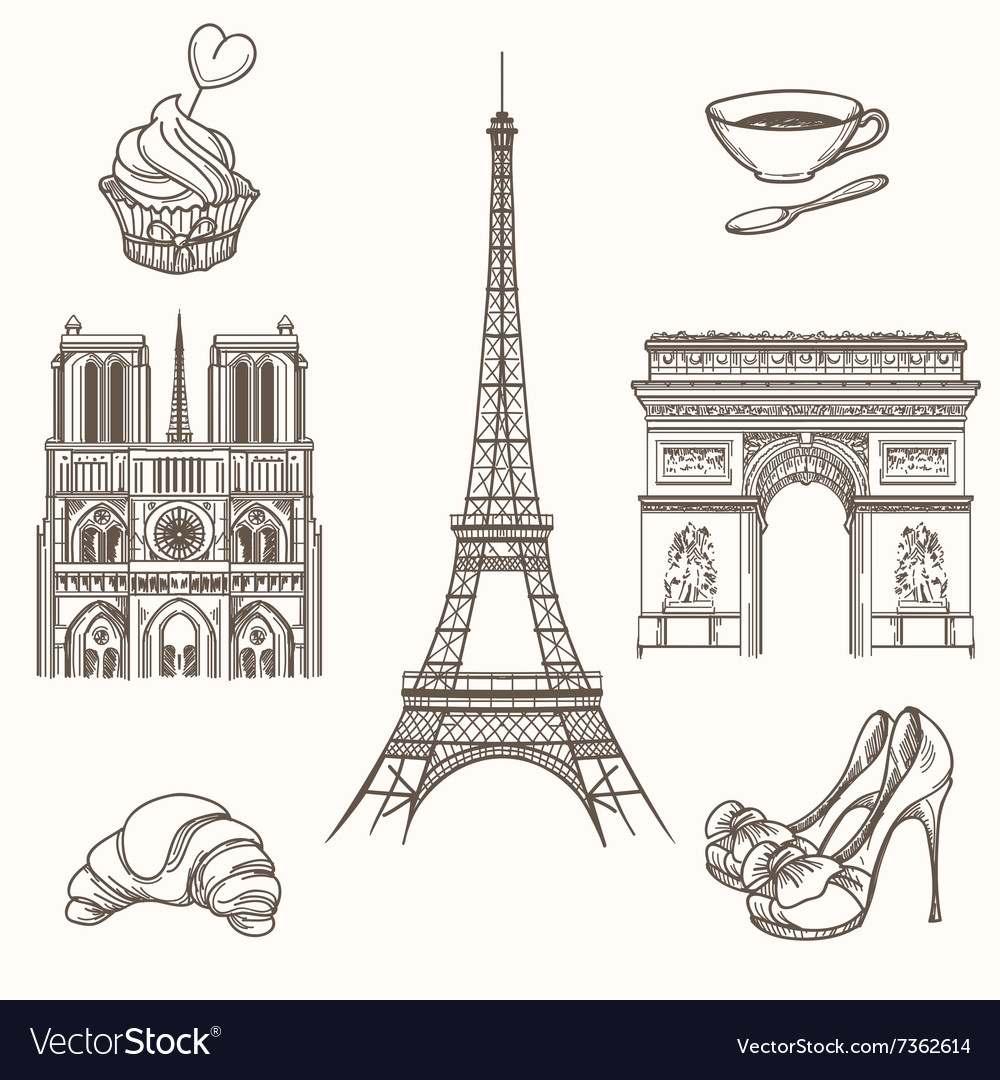 Hand drawn Paris symbols vector image
