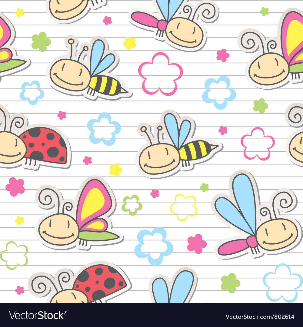 Pattern with insects vector image