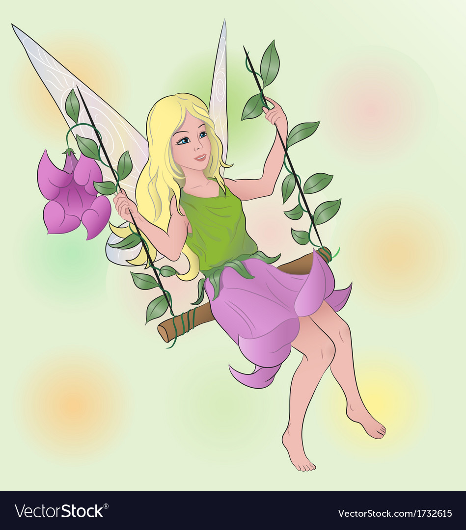 flower fairy on swing royalty free vector image