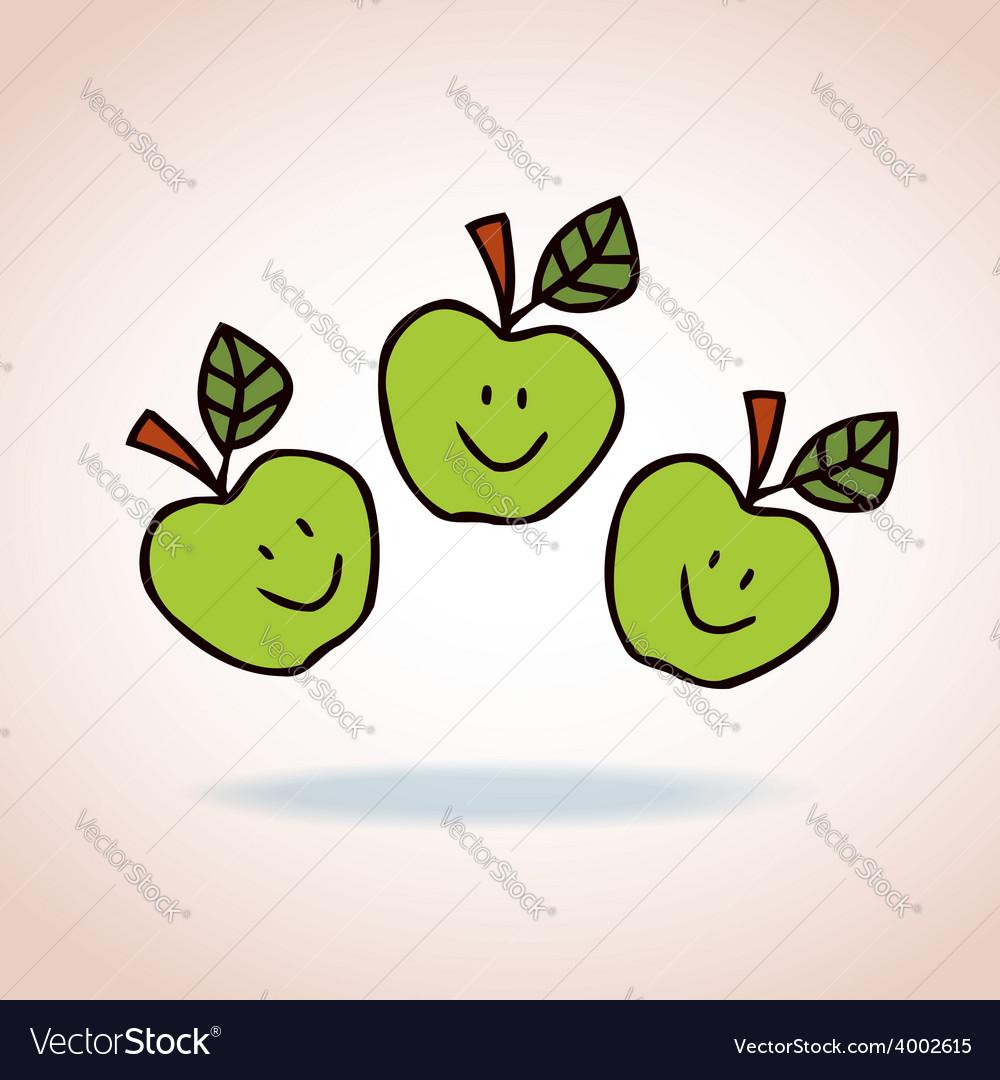 happy cartoon apples royalty free vector image
