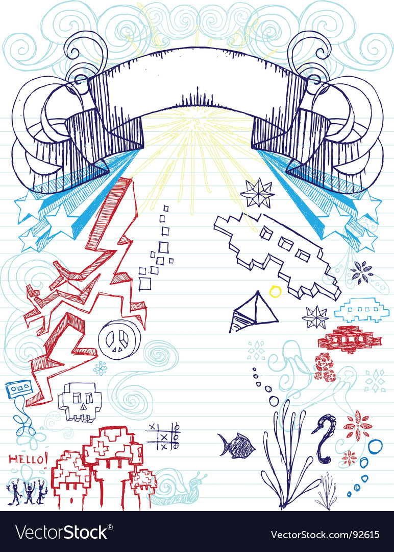 Notepad doodles vector image