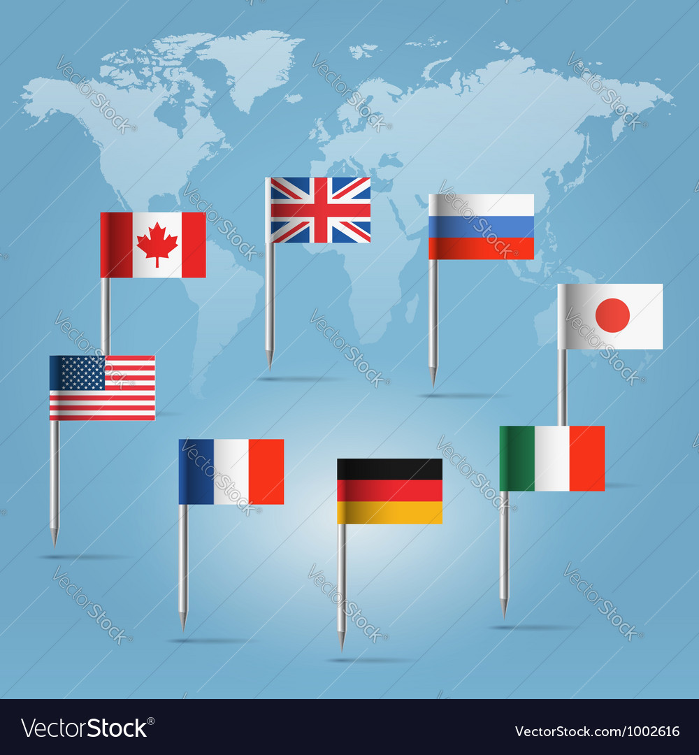 G8 countries flag pins over world map royalty free vector g8 countries flag pins over world map vector image gumiabroncs Images