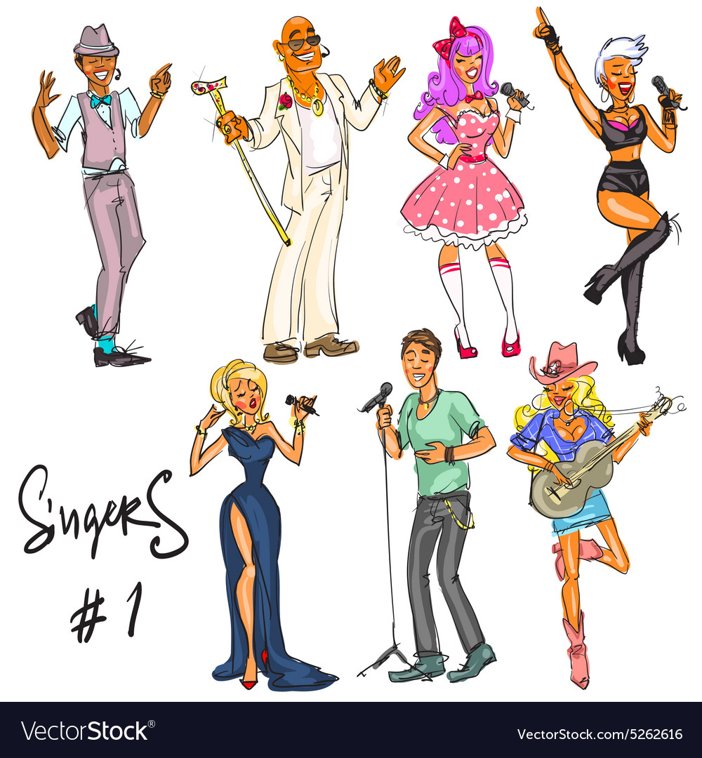 Singers - part 1 Hand drawn collection vector image