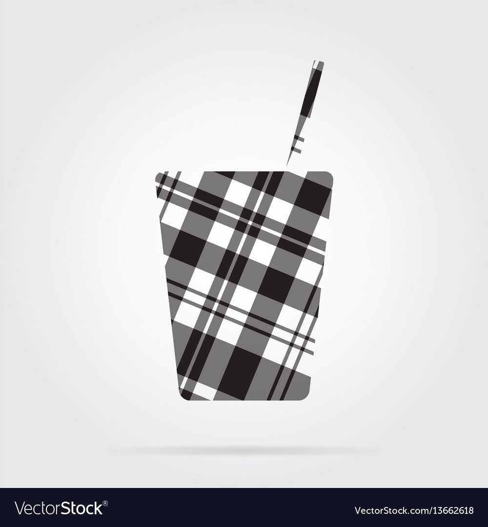 Grayscale tartan icon - fast food drink with straw vector image