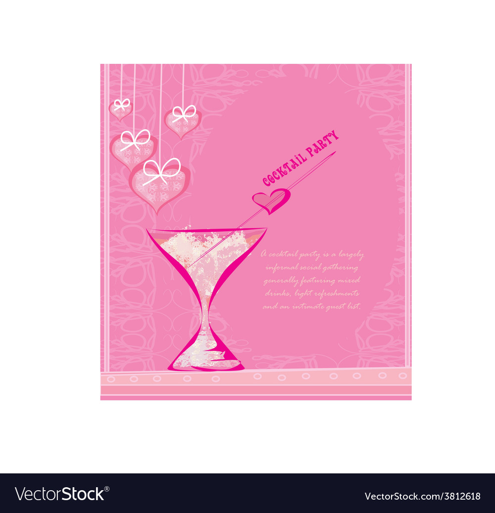 invitation to valentine day cocktail party vector image