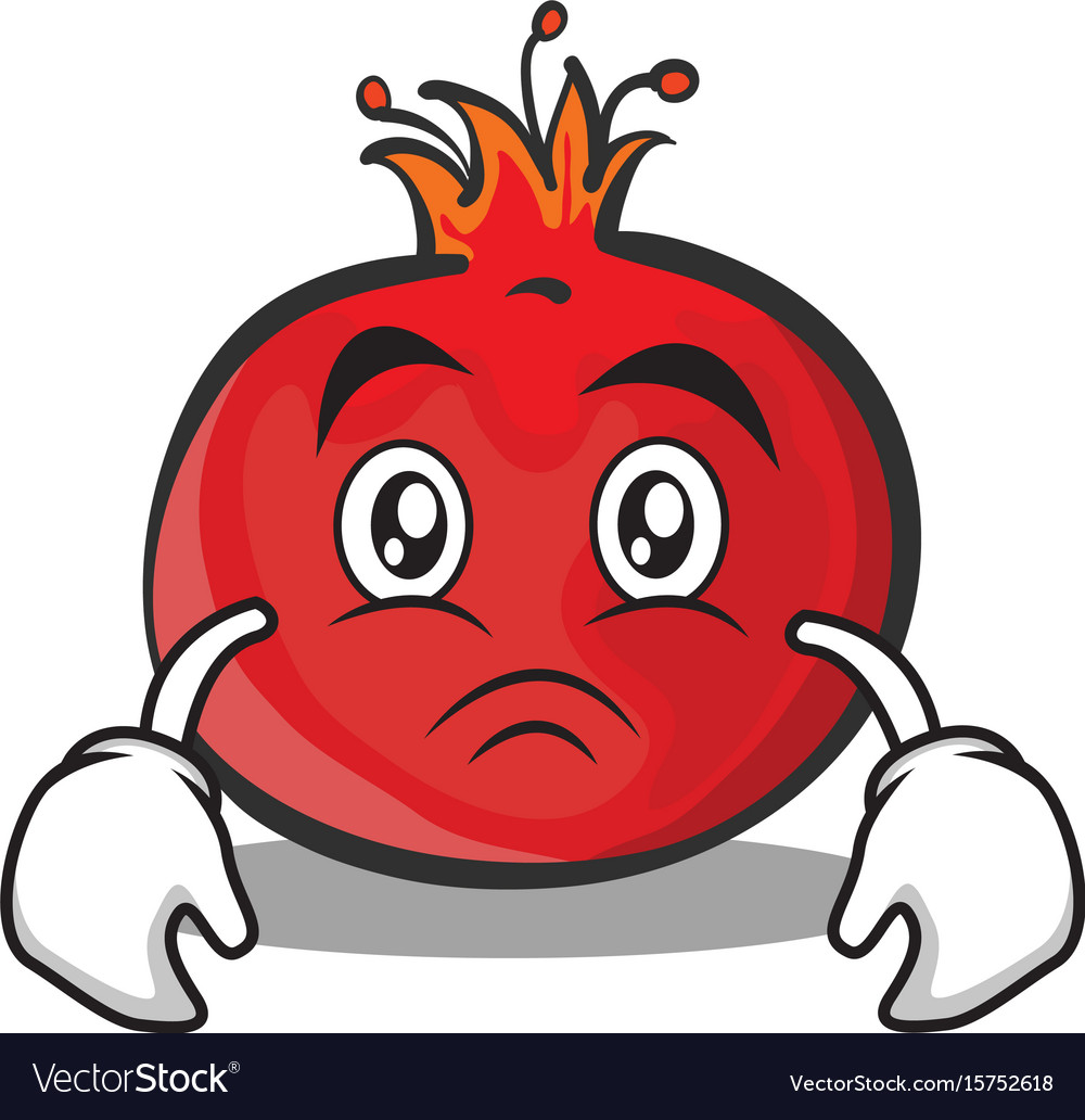 Sad face pomegranate cartoon character style vector image voltagebd Images
