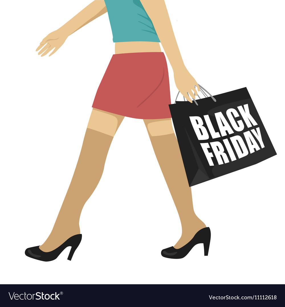 Woman walking with black friday shopping bag vector image