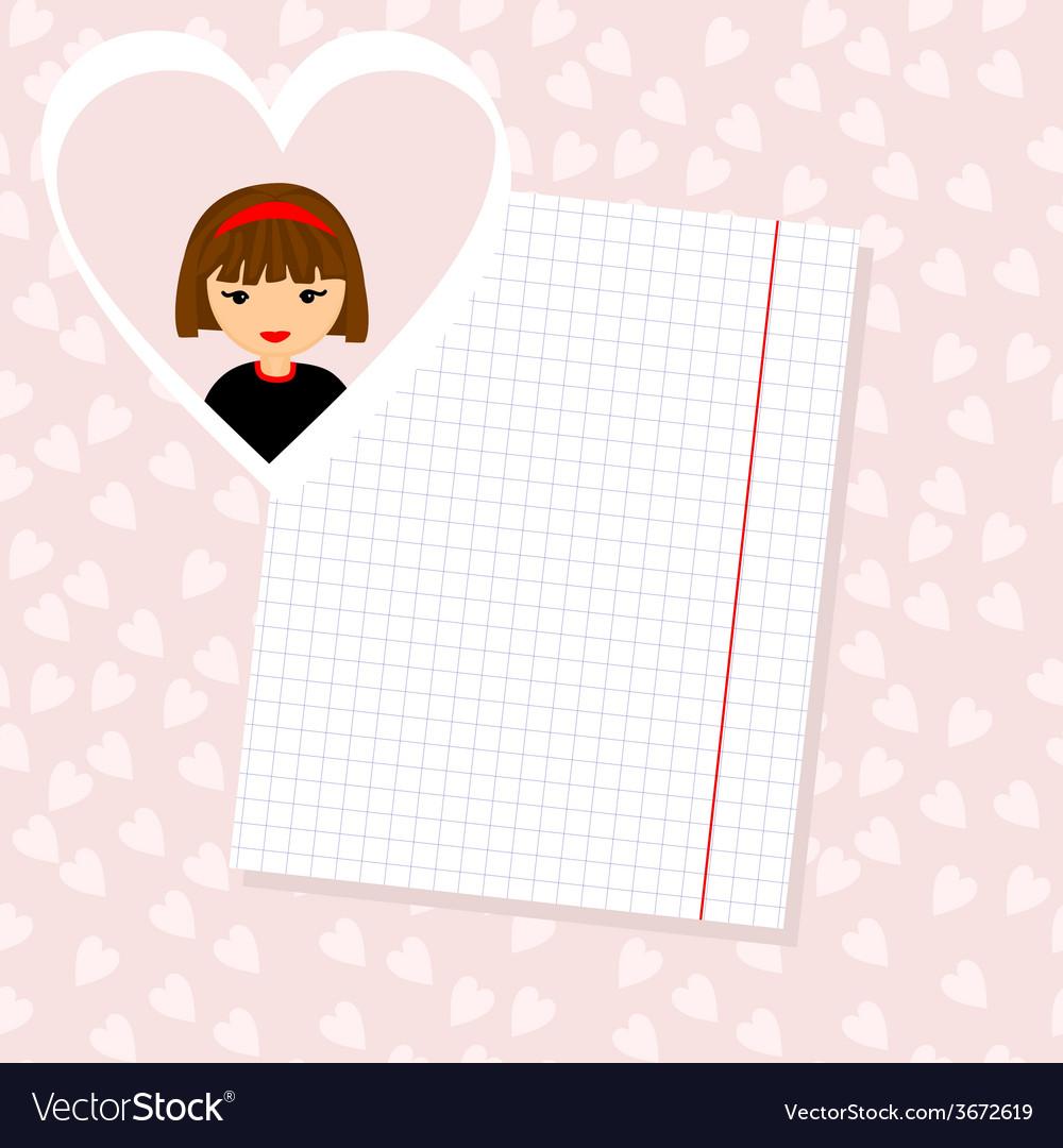 Love Letter Portrait of Girl in Heart Background vector image